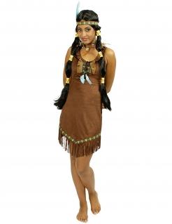 Indianerin Damenkostüm Kleid mit Fransen dunkelbraun