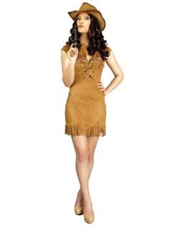 Cowgirl Damenkostüm Kleid mit Fransen hellbraun