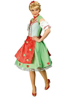 Dirndl Damenkostüm Trachtenkleid grün-weiss-rot