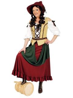 Bardame Mittelalter Damenkostüm grün-braun-weiss
