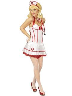 Sexy Krankenschwester Damenkostüm Kleid weiss-rot