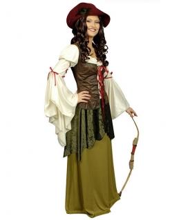 Burgfräulein Mittelalter Damenkostüm grün-braun-weiss