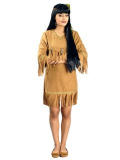 Indianerin Damenkostüm mit Fransen hellbraun