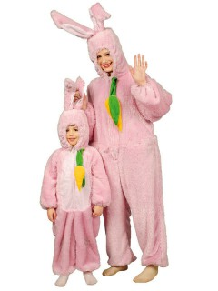 Hase Unisex Kostüm Overall weiss-rosa
