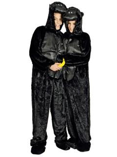 Gorilla Unisex Kostüm Overall schwarz