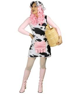 Kuh Damenkostüm Plüschkleid mit Haube schwarz-weiss-rosa