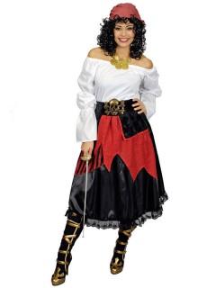 Piratin Rock Damenkostüm mit Gürtel schwarz-rot