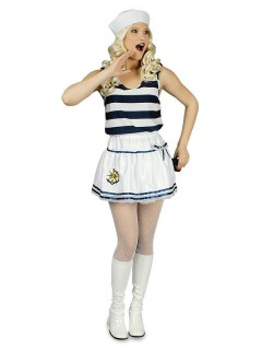 Matrosin Petticoat Karneval weiss-blau