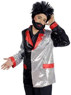 Rock'n'Roll Disco Jackett Pailletten schwarz-rot-silber