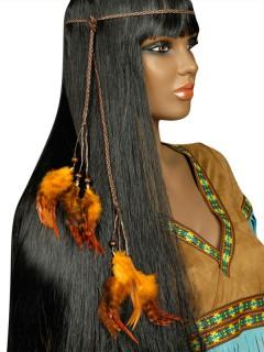 Indianer Halsband Stirnband Kopfschmuck Federn orange