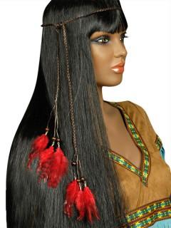 Indianer Halsband Stirnband Kopfschmuck Federn rot