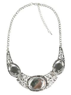 Collier Damen-Halsschmuck mit Edelsteinen silber-weiss