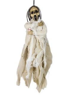 Tod Skelett Halloween-Hängedeko weiss 40x20cm