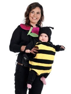 Baby Kostüm-Set Biene für Baby-Tragetaschen schwarz-gelb