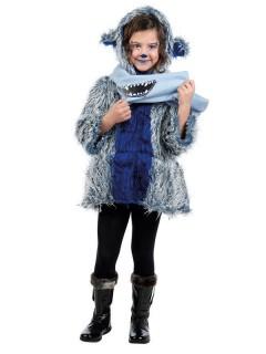 Kinder-Mantel Monster mit Schal weiss-blau