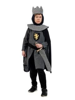 Mittelalterlicher Ritter Deluxe Kinderkostüm schwarz-grau