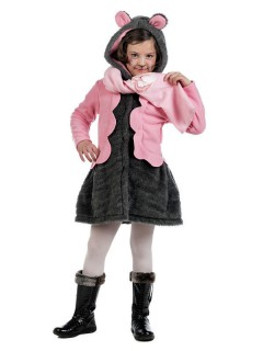 Kinder-Mantel Maus mit Schal grau-rosa