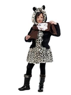 Leoparden-Mantel mit Schal Kinderkostüm braun-schwarz-beige