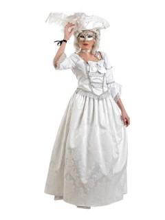 Venezianisches Deluxe Damenkostüm weiss-silber