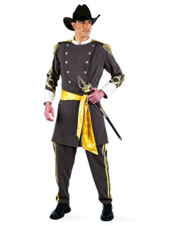 Südstaaten Offizier Deluxe Kostüm USA grau-gold