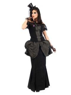 Viktorianisches Gothic Kleid Deluxe Damenkostüm schwarz