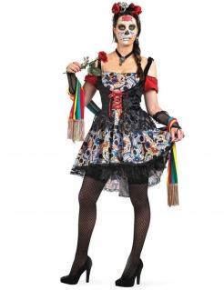 Tag der Toten Mexikanerin Halloween Damenkostüm schwarz-bunt