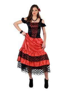 Spanierin Flamenco-Kleid Damenkostüm rot-schwarz