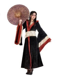 Geisha Kimono Damenkostüm gold-rot-schwarz