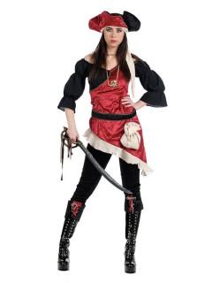 Sexy Piratin Freibeuterin Damenkostüm schwarz-weiss-rot