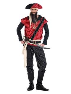 Dunkler Pirat Kostüm schwarz-weiss-rot