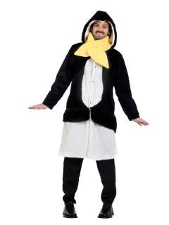 Pinguin Mantel mit Schal Tierkostüm schwarz-weiss