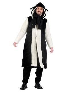 Schaf Mantel mit Schal schwarz-weiss