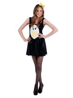 Süsser Pinguin Damenkostüm schwarz-weiss-gelb