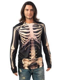 Skelett-T-Shirt Halloweenkostüm schwarz-weiss