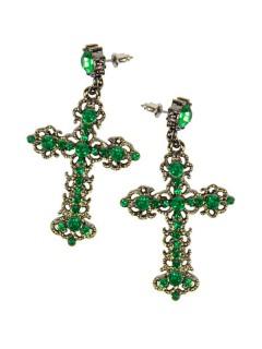 Kreuz Ohrringe mit Strasssteinen grün