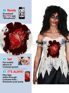 Zombie Braut Damenkostüm iWound Schlagendes Herz Halloween schwarz-weiss-rot