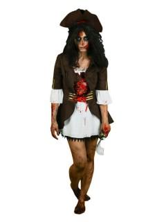 Piratin Damenkostüm iWound Schlagendes Herz Halloween braun-weiss-rot