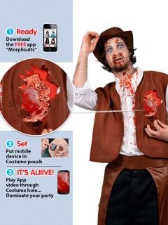 Zombie-Cowboy Herren-Kostüm iWound Schlagendes Herz braun-weiss