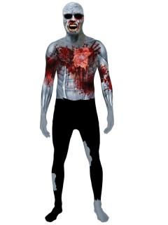 Zombie Morphsuit i-Wound Schlagendes Herz Halloween grau-schwarz-rot