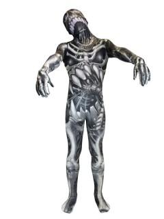 Monster Skelett Kinder Morphshuit Halloween schwarz-grau