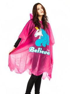 Einhorn-Regenponcho für Damen pink-weiss-blau