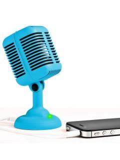 Lautsprecher in Mikrofon-Form blau 13cm