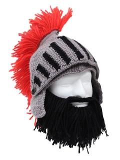 Strickmütze Ritter mit Bart kurz schwarz-grau-rot
