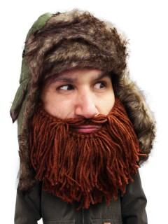 Strickmütze Trapper mit Bart kurz braun