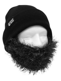 Strickmütze mit Bart buschig schwarz