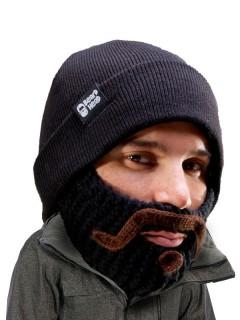 Strickmütze mit Bart Moustache schwarz-braun