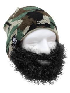 Strickmütze mit Bart camouflage schwarz