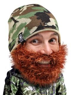 Strickmütze mit Bart camouflage braun