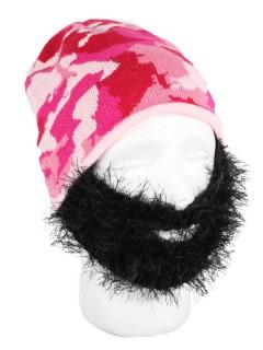 Damen-Strickmütze mit Bart pink-schwarz