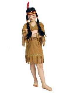 Indianerin Kinderkostüm Kleid mit Fransen hellbraun
